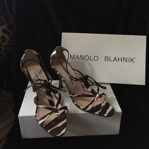 Manolo Blahnik Zebra print sandals
